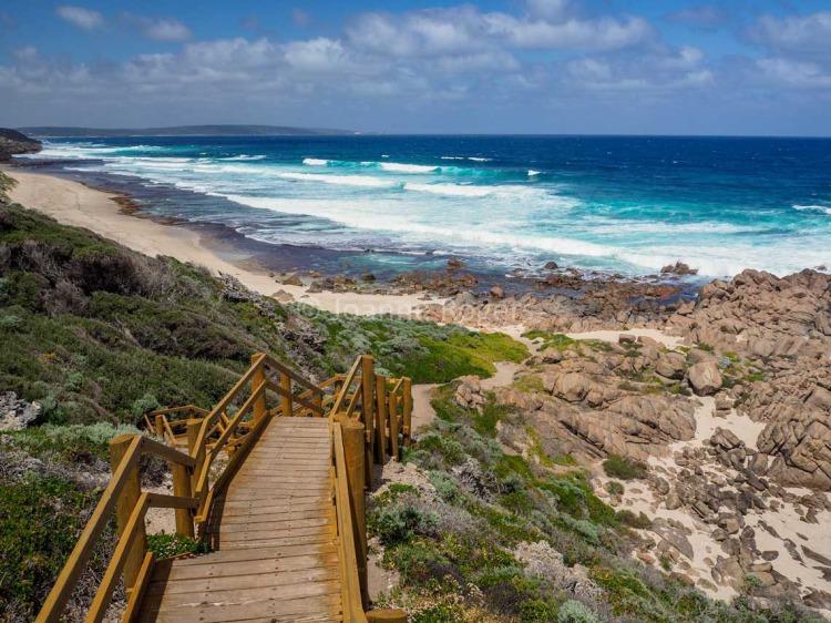 Staircase down to Three Bears beach